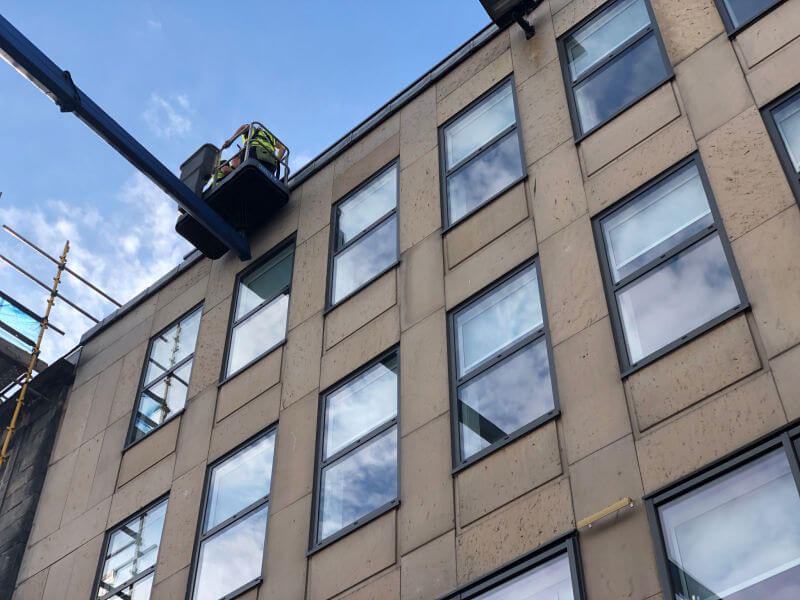 High reach MEWP window cleaning in Edinburgh