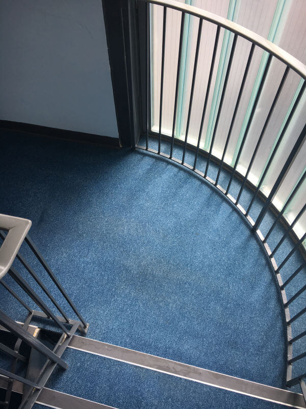 Communal stair carpet after being cleaned